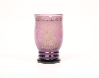 "Purple glass ""Wilhelmina"" beaker A.D. Copier for by glasfabriek Leerdam/the Netherlands 1923-Dutch glass"