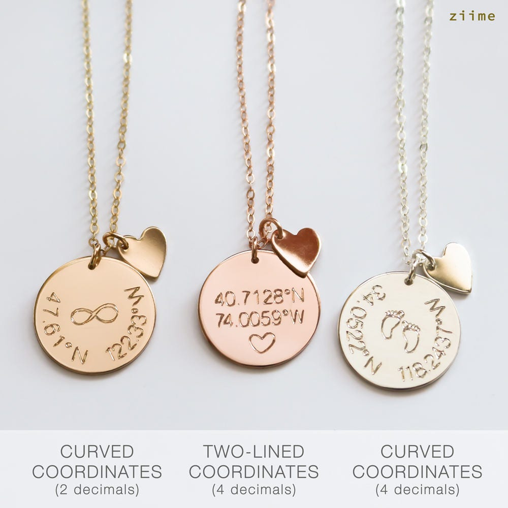 Gps Coordinates Necklace: Coordinates Disc Necklace Coordinates Disk Necklace Latitude