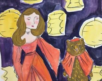 original painting, bear painting, girl with bear, brown bear, bear art, bear, original art