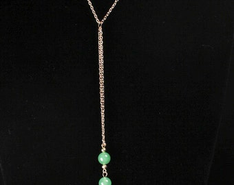 Jade-Colored Lavaliere and Earrings