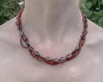Tiger's eye, carnelian and garnet twining necklace NY301