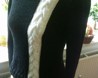 Knit sweater black with white braid, Gr. 36-38(S-M)