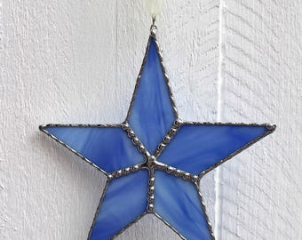 Blue Stained Glass Star Suncatcher Window Ornament