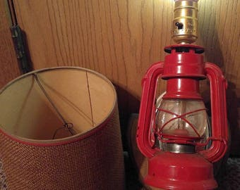 Vintage Red Gold Wood Metal Lantern Wall Lamp with Burlap Shade
