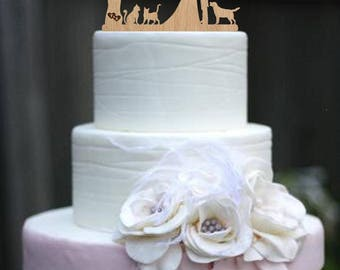 Cake Topper Mr & Mrs Silhouette Couple Bride and Groom Personalized Cake Topper Initial Cake Topper Two Cat and Dog Wedding Cake Topper Date