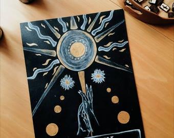 SALE DESTOCK The Sun Tarot Artwork, Original Artwork, Sun Illustration, Tarot Card, Wiccan Art, Esoteric, Wicca, Witchcraft, Gift Idea