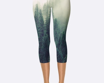 Workout Pants // Printed Art Leggings // Workout Leggings // Workout Pants Women // Fitness Leggings // Running Leggings // Capris // Forest