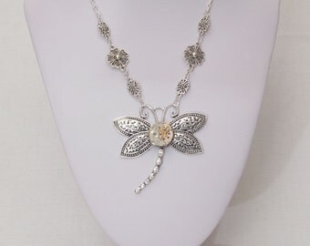 Dragonfly Steampunk Necklace - vintage watch movement, dragonfly pendant, great gift!