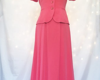 Coral Two Piece Silk Ensemble - 100% Silk Set with Long Skirt - Size 4 Small