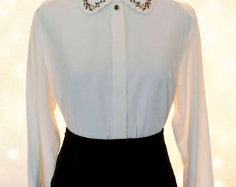 Vintage Embroidered Collar Blouse - Black and Ivory Button Down Vintage Top