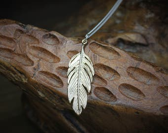 SALE Gold Feather Pendant Necklace, gold plated and sterling silver