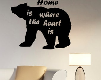 Inspirational Quote Wall Art Bear Decal Vinyl Sticker Animal Silhouette Decorations for Home Living Room Bedroom Office Wildlife Decor br4