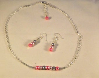 Handcrafted beaded glass pearl bar necklace & pink earrings; candy pink, baby pink and soft grey; birthday or bridesmaid gift for her