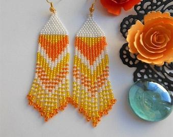 Dangle earrings Bridesmaid earrings Orange earrings Beaded earrings Bead earrings long earrings Seed bead earrings Simple earrings for her