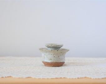 Vintage Stoneware Candlestick Holder With Unglazed Bottom & Speckles - Handmade