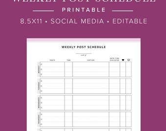 Social Media Weekly Post Schedule - INSTANT DOWNLOAD - Printable and Editable PDF