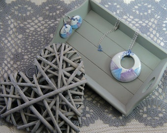 Ceramic and copper jewelry sets-Ceramic and copper necklace and earrings
