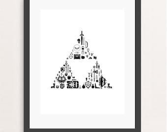 zelda triforce, zelda print, zelda poster, zelda art, video game, geek, minimalist art, wall art, nintendo poster, wall decor, zelda link