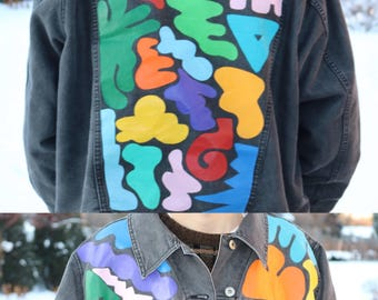 Hand-painted Abstract Denim Jacket