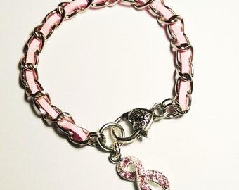 Pink Rhinestone Ribbon Charm, Breast Cancer Awareness Bracelet