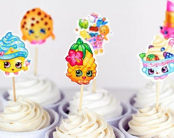 24 Shopkins Cupcake Toppers/Cake Decorations/Party Decorations