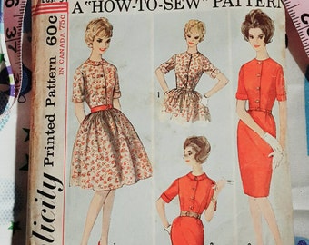 1963 Simplicity 5022 Misses Size 14 How to Sew Dress With Full or Slim Skirt Cut Complete Sewing Pattern ReTrO Pretty!