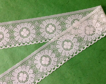 Ivory Lace with Flower design - by the yard