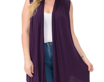 Asymmetric Open Front Vest Plus Size Purple