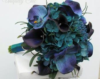 Wedding bouquet - Beach bouquet, Teal purple and blue Tropical bouquet, Silk bouquet, Brides bouquet, Tropical wedding flowers