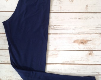 Brushed Poly Leggings, Navy Blue Solid