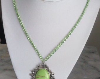 Green Chinese Turquoise Pendant with matching chain