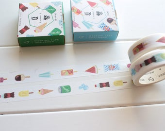 Ice Cream Lolly Washi Tape, Summer Washi Tape,  Japanese Masking Tape, Summer Planner Stickers, Ice Cream Stickers  (FD-113, FD-114)