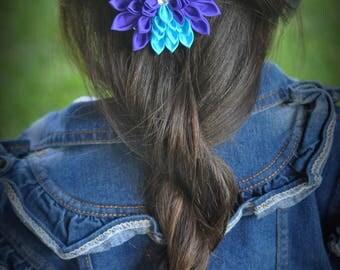 Purple and Blue Kanzashi Flower Hair Clip - Purple Hair Flower - Blue Hair Flower - Purple Hair Clip - Blue Hair Clip - Kanzashi Clip