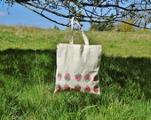 Strawberry Tote Bag - 100% Recycled Cotton - Hand printed - Fruit tote - Gardening Gift - Mothers Day Gift