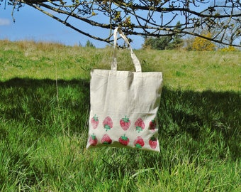 Hand-printed Strawberry Cotton Tote Bag - 100% Recycled Cotton