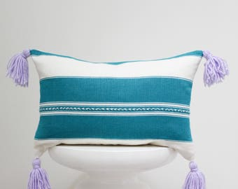 Green and White Pillow, Hand Embroidery Design, Hand Woven, Hand Dyed, Mexican Decorative Pillow Cover, Throw Pillow Cover, Purple Tassels