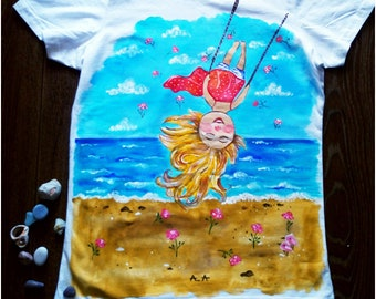 Hand Painted T-Shirts - Happy Life - The Weeknd Clothing - Birthday Gift For Her - Beach shirt - Summer Clothes