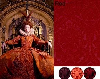 Custom Made Elizabeth the Golden Age Tudor Red Damask and Swarovski Crystal Court Gown