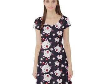 Moogle Dress - Skater Dress Final Fantasy Dress Cosplay Dress Comicon Dress Plus Size Dress Mog Dress Final Fantasy VII