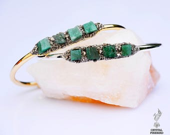 Raw Emerald Bracelets - May Birthstone Jewelry - Emerald Bracelets - Raw Emerald Jewelry - Healing Crystal Bracelet May Birthstone Bracelet