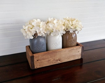 Wood Planter Box Mason Jar Centerpiece Rustic Wedding Decor
