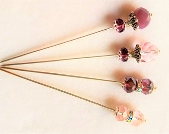 Pink/Purple Crystal and Rhinestone Bead Stick Pin/Hat Pin/Hijab Pin/Corsage Pins