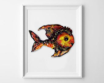 Magic Fish. Children's room decor. Baby Animal. Nursery decor. Wall Sculpture. 3D Wall Decor. Red time fish. Wall Installation for kids