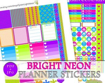 Neon Printable Planner Sticker, Erin Condren Party Printable Stickers, ECLP Vertical Planner Sticker, Summer Printable Party Weekly Kit Neon