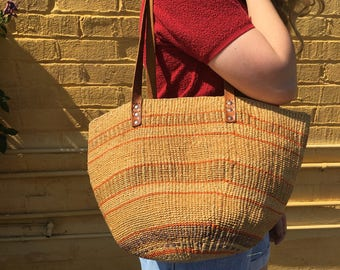 Basket Woven Leather Strap Tote