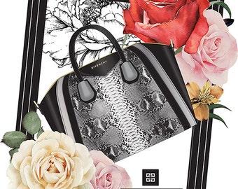 Fashion poster, Givenchy Antigona handbag, fashion print, fashion illustration, Handbag illustration, fashion art