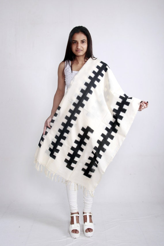 White Handloom Mercerised Cotton Double Ikat Dupatta with Black Geometric Design (Stole, Shawl, Scarf)