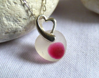 Sea Glass Pendant, Heart Pendant, Pink Pendant, Sea Glass Necklace, Heart Necklace, Pink Necklace, Beach Glass Pendant, Seaglass - PF16010