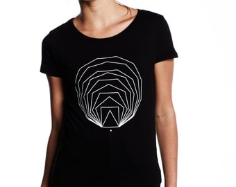 Expanding Polygons Black Womens Tee, Minimal T-shirt, Geometric Shape, womenswear, Geometry Tshirt, Cotton, Sacred Geometry, Triangle