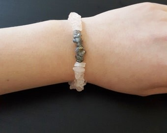 Rose Quartz and Labradorite, Pink and grey gemstone chip bracelet, Stretchy elastic natural stone bracelet, 5-6""